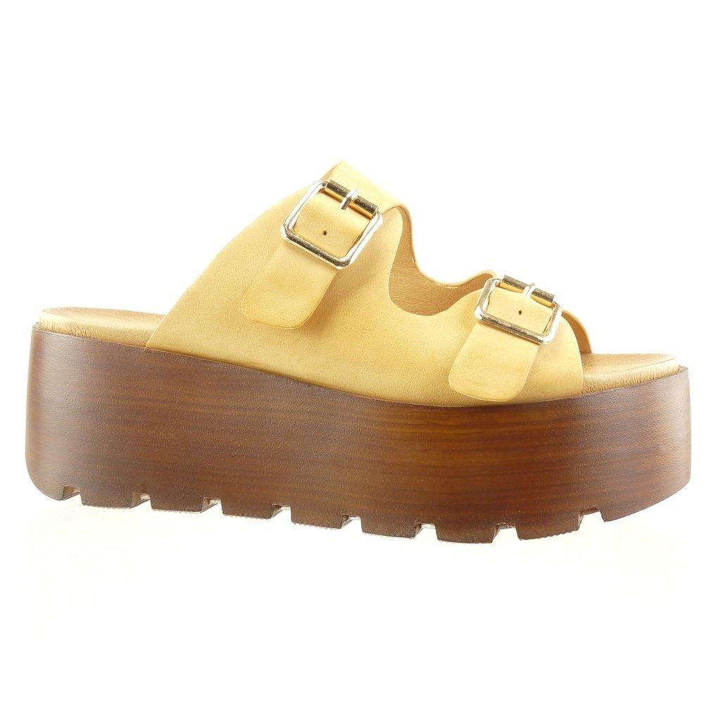 Angkorly Damen Schuhe Sabot Sandalen - Plateauschuhe - String Tanga - Schleife - Wooden Keilabsatz High Heel 7 cm Camel