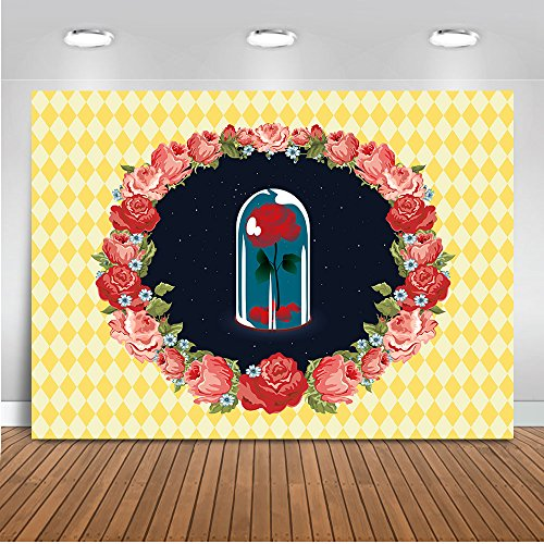 Mehofoto Beauty and Beast Backdrop Yellow Red Rose Flower Wreath Photography Background 7x5ft Vinyl Child Kids Birthday Party Banner Decoration Backdrops -