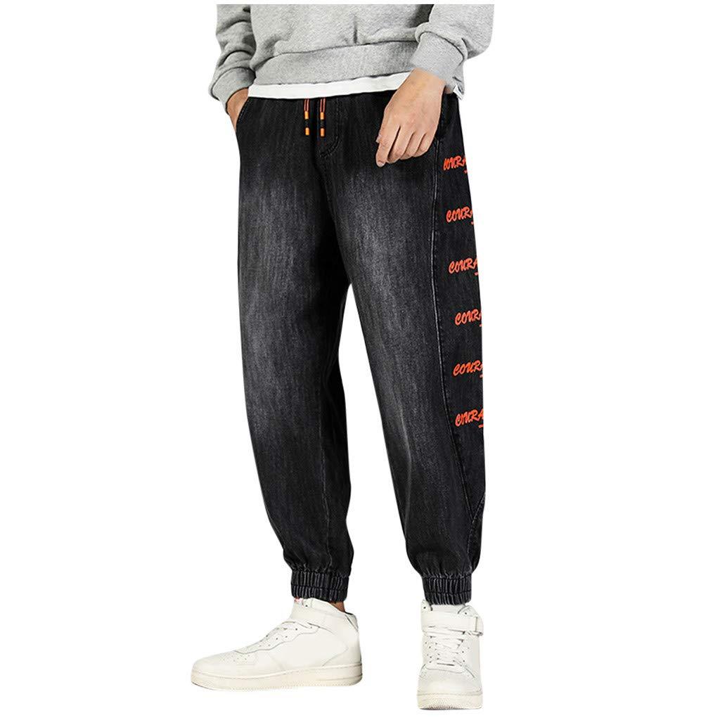 FKSESG Pants for Men Men's Loose Printing Patchwork Pockets Outdoors Jean Pants Black