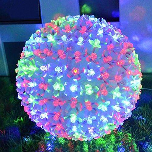 Spritech(TM) Bright 15cm Diameter Ball Peach Colored Waterproof Outdoor String Lights Powered Globe Fairy String Lights for Outside Garden, Yard, Home, Landscape, Halloween Christmas (Halloween Outside)
