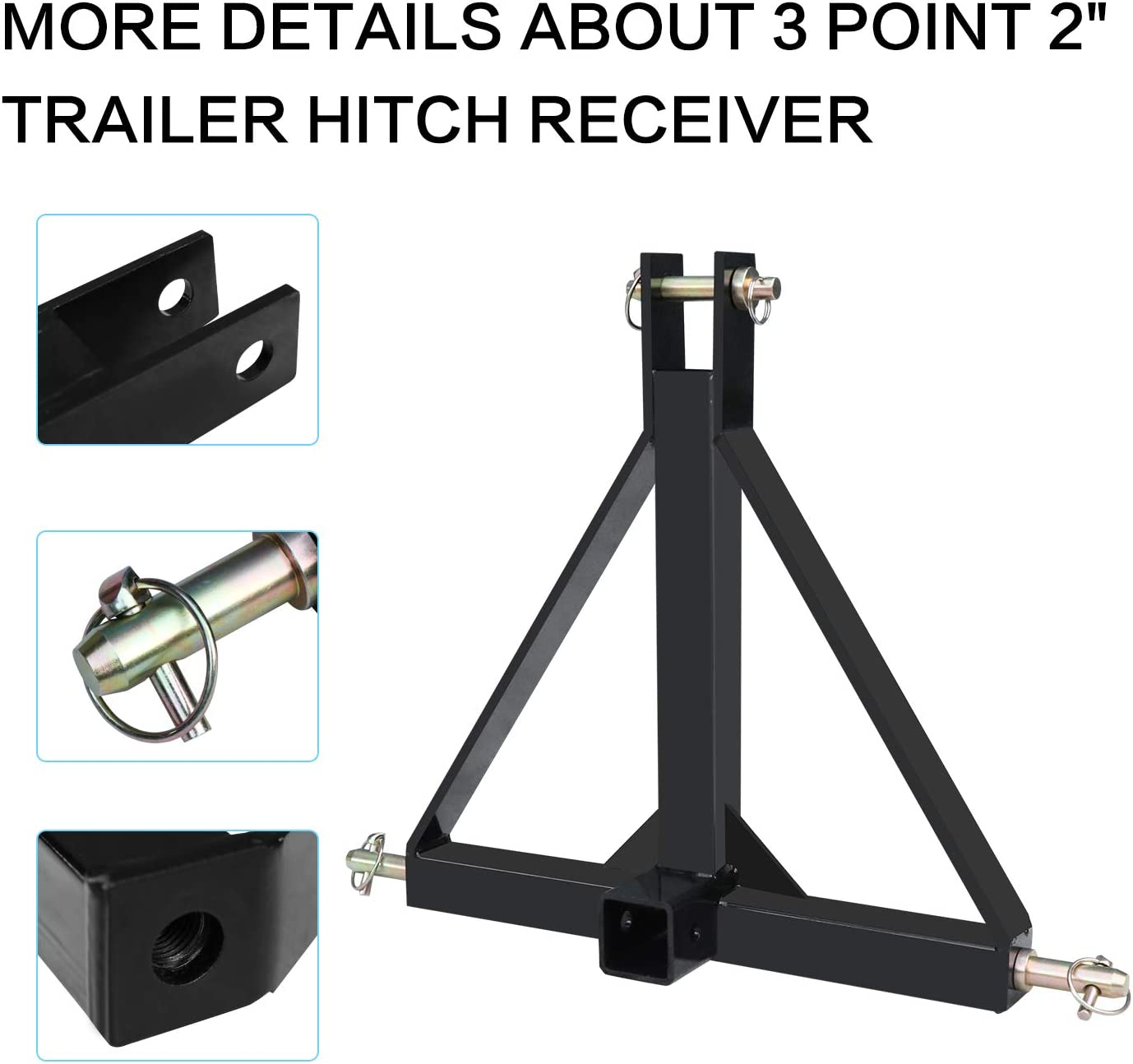 Cat 5000lbs Capacity WLM Tractor EBESTTECH 3 Point 2 Inch Receiver Trailer Hitch Heavy Duty Steel Category 1 Tractor Tow Hitch Drawbar Adapter for Kubota LM25H Kioti Yanmar NorTrac BX