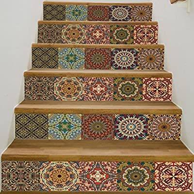 Woaills 1Roll Of 6Pcs Stair Stickers, DIY Removable Ceramic Tiles Patterns Steps Mural Decor
