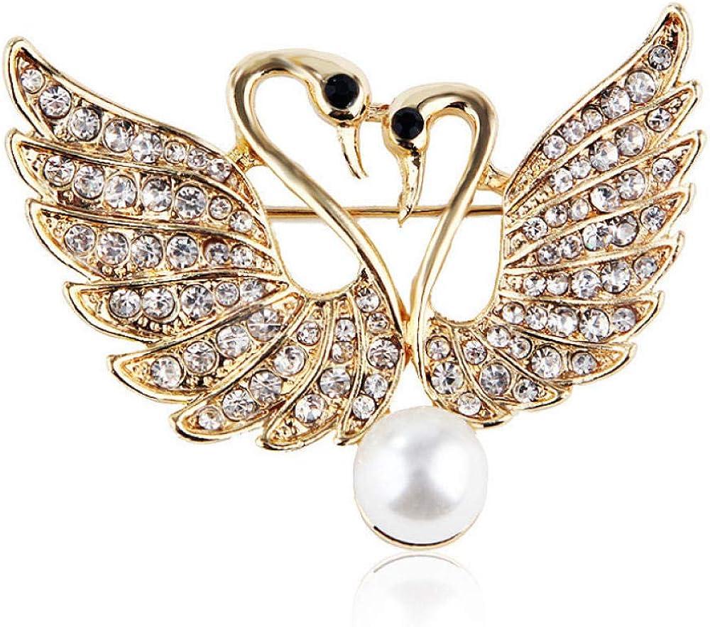 GLJIJID Broche de joyería de Bufanda, Moda Doble Cisne Rhinestone Aleación de Perlas Ropa Accesorios de Mujer Camisa de Fiesta Collar Accesorios Broche