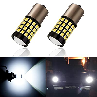 ANTLINE Newest 1156 LED Bulb White (2 Pack), 9-30V Super Bright 1600 Lumens 1141 1003 7506 BA15S 52-SMD LED Lamps with Projector for Replacement, Work as Turn Signal Blinker Side Marker Lights: Automotive