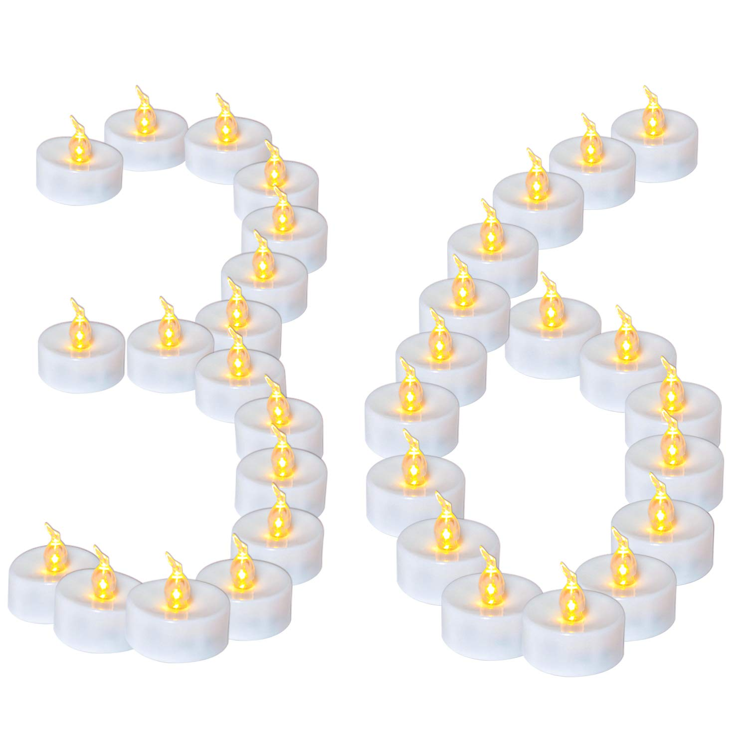Youngerbaby Set of 36 Small Led Tealight Candles Bulk with Time Function(6Hrs ON 18Hrs Off)-Battery Operated Tea Lights Flickering Warm White Glow Fake Candles for Holiday Wedding Party Halloween