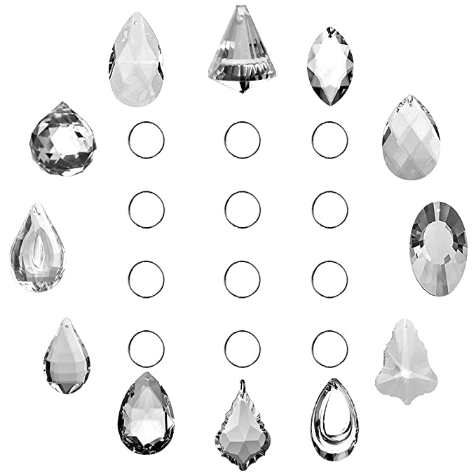 SunAngel Clear Jewelry Crystals Pendants &Chandelier Lamp Lighting Drops Prisms Hanging Glass Prisms Parts Suncatchers Prisms Hanging Ornaments for Home,Office,Garden Decoration(12packs)