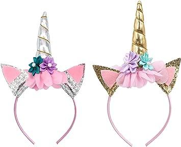 UCLEVER Unicornio Diadema de Oro Brillante Unicornio Cumpleaños ...