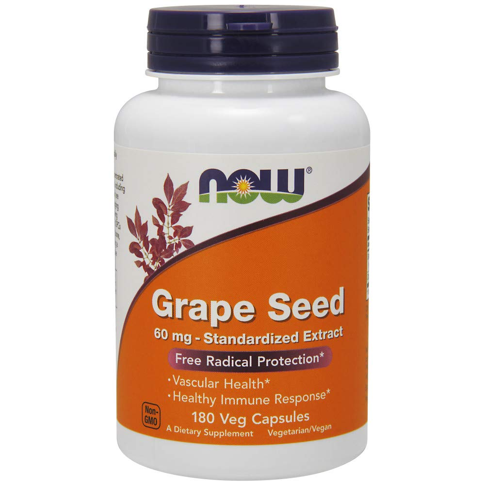 NOW Supplements, Grape Seed 60 mg - Standardized Extract, 180 Veg Capsules by NOW Foods