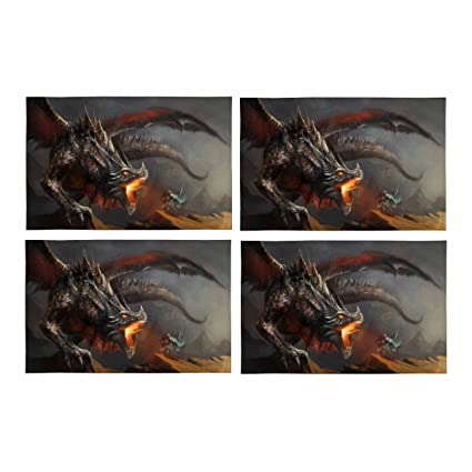 Amazon interestprint fantasy scene knight fighting dragon interestprint fantasy scene knight fighting dragon kitchen table mats placemats set of 4 place mat watchthetrailerfo