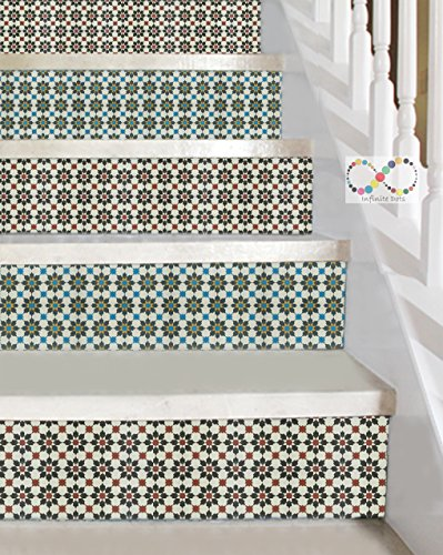 Moroccan Style Vinyl Decal Strips for Stair Risers - Peel and Stick - Self Adhesive Sticker - Home Decor DIY - Pack of 5 Strips (Step Height 4.5