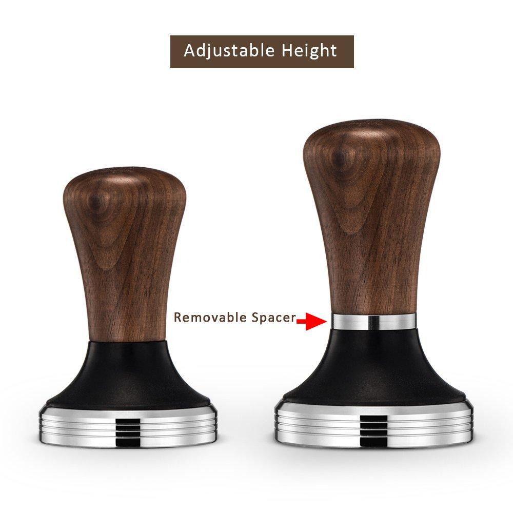 Diguo Elegance Wooden Coffee Tamper. Flat Espresso Tamper 58mm Portafilter. Stainless Steel Flat Height Adjustable Wooden Handle. Barista Espresso Tamper by Diguo (Image #2)