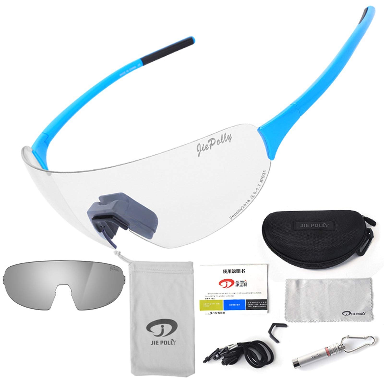 Adisaer Sports Sunglasses Youth Goggles Outdoor Sports Riding Color-Changing Glasses Men and Women Running Fishing Bicycle Windproof Polarized Glasses Blue Upgrade 1 for Adults