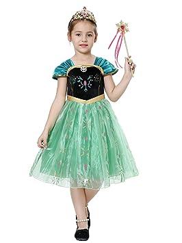 Pretty Princess Disfraces Princesa Vestido niña Trajes de Fiesta de Reina de Nieve Cosplay 5-
