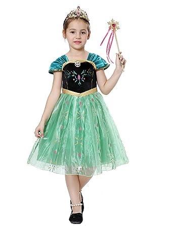 cad7b2cb1c6c6 Pretty Princess Déguisement Petites Filles Robe Princesse Enfant Costumes  Reine des neiges 5-6 Ans  Amazon.fr  Vêtements et accessoires