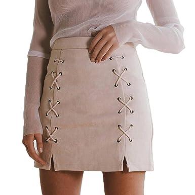 Yying Faldas con Cremallera Bodycon divididas Faldas con ...