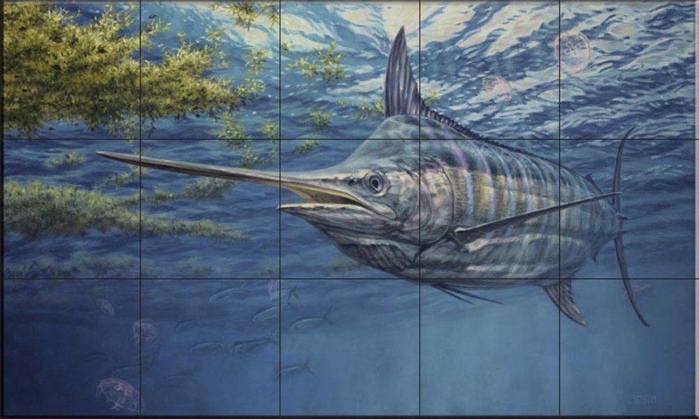 Ceramic Tile Mural Prowling Marlin By Don Ray Kitchen