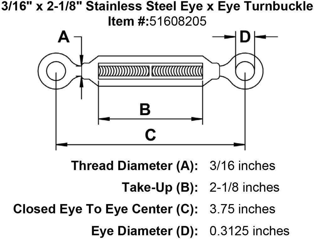 3//16 x 2-1//8 Stainless Steel Eye x Eye Turnbuckle