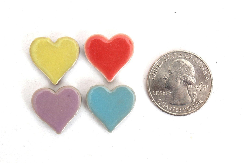 Milltown Merchants 3/4 Inch (10mm) Heart Shaped Mosaic Tile, 3 Pound (48 oz), Bulk Assortment of Heart Mosaic Tiles (750-900 Mosaic Tiles) by Milltown Merchants (Image #2)