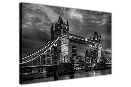 Black and white iconic tower bridge canvas pictures london city wall art prints size a3
