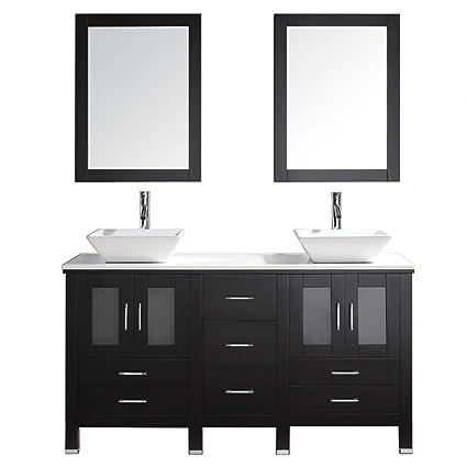 Virtu Usa Bradford 60 Inch Double Sink Bathroom Vanity Set In