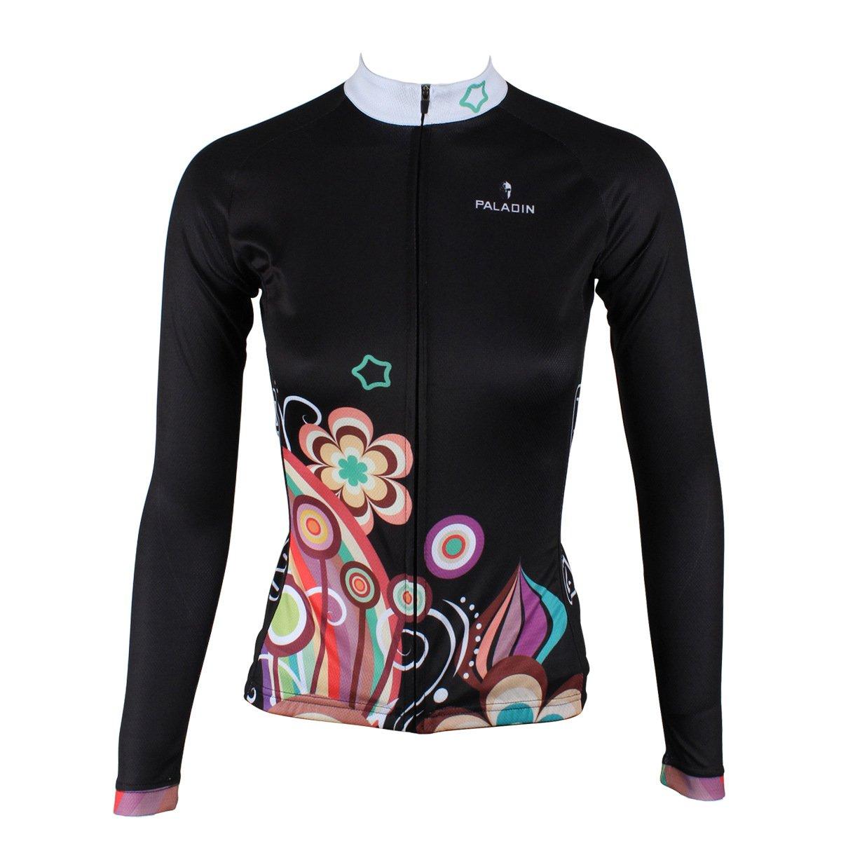 KMFEEL Cool Black Flowers Women Long Sleeve Cycling Jersey Invisible Zipper Sportswear KC-LongJersey211-S
