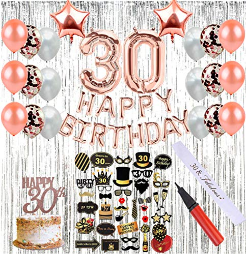 30th Birthday Decorations (64 Pieces) | Party Supplies with Photo Booth Props, Birthday Sash, Balloon Pump, Photo Backdrop, 30 Number Balloons & Cake Topper, Rose Gold Confetti Balloons -