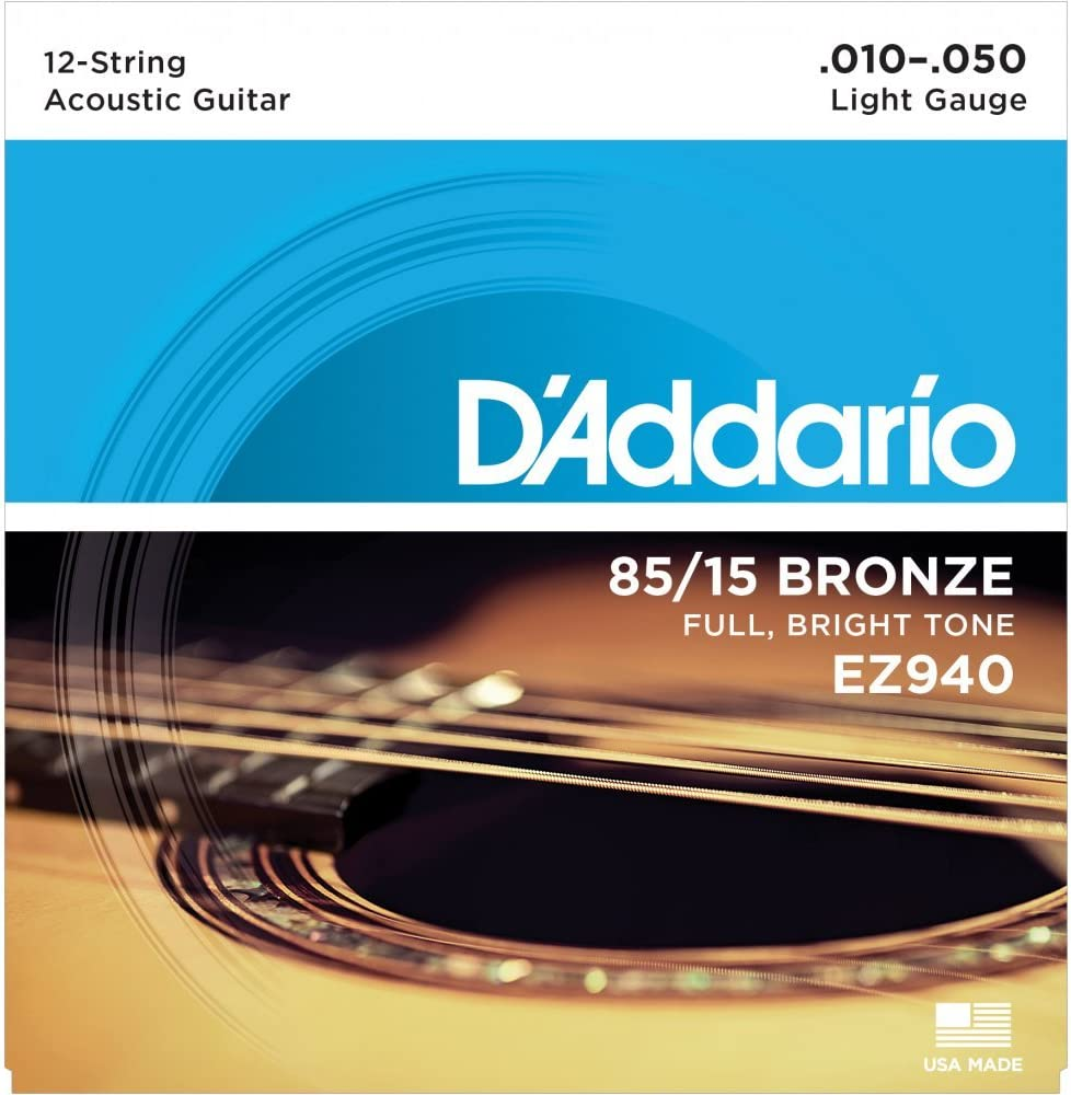 D'Addario: EZ940 12-String Guitar Light Set 85/15 American Bronze. para Guitarra Electrica, Guitarra Acústica