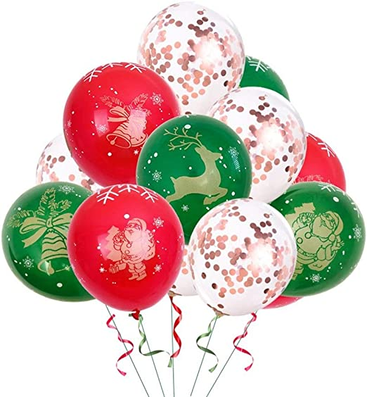 Amazon Co Jp Balloons Red And Green Christmas Balloons 12 Inch Hot Stamp 5 Sides Printed Color Latex Balloons Round For Fashion Christmas Decorations Events Party Decorations Color Type3 Home Kitchen