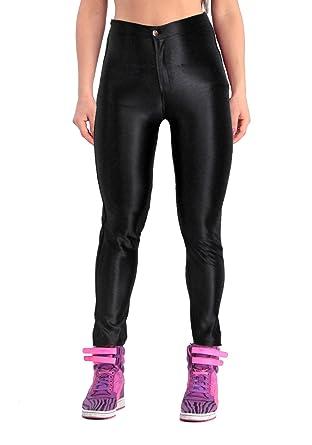 6a384c128b24 Yomsong Women s High Waist Shiny Satin Neon Disco Pants at Amazon ...