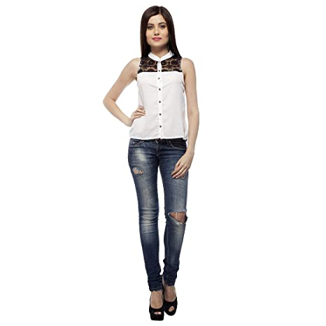 MALLORY WINSTON Solid White Sleeveless Casual Top Tops