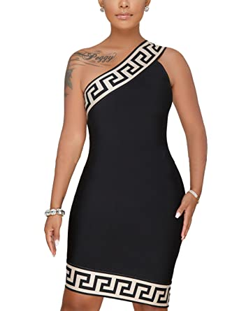 Womens Sexy One Shoulder Bodycon Dress Summer Sleeveless Mini Dress