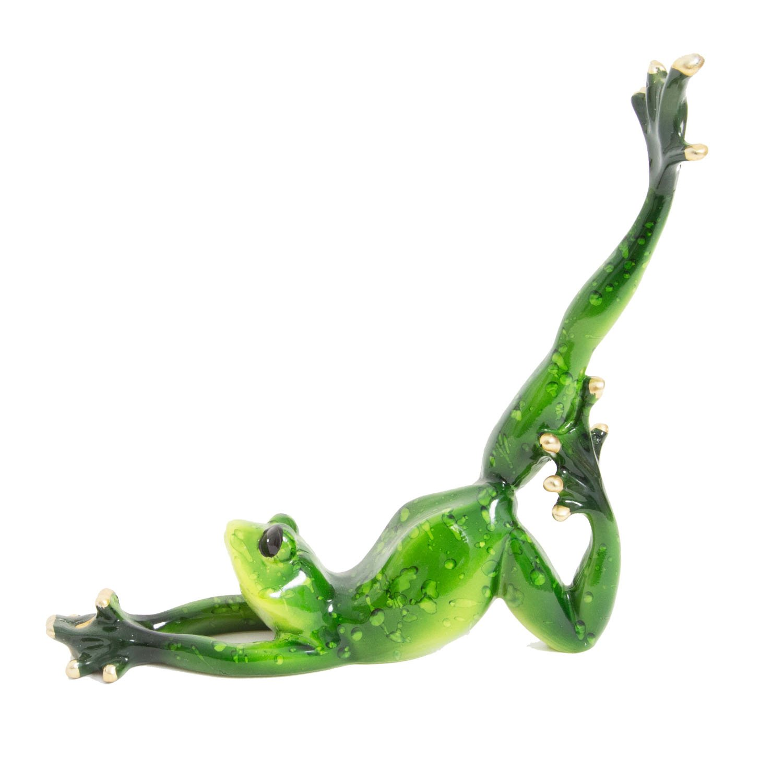 Team Frog Yoga stucco Ceramic Miniature Figurine Painted Decor Vintage art Gift 5 FROGS // 1 SET