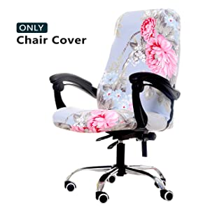 WOMACO Printed Office Chair Covers, Stretch Computer Chair Cover Universal Boss Chair Covers Modern Simplism Style High Back Chair Slipcover (Pink Flower, Large)