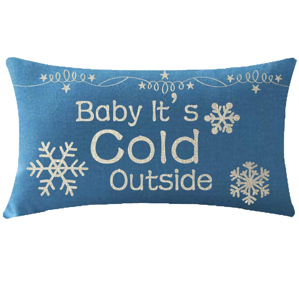 ITFRO Nice Mothers Sister Christmas Birthday Gift Believe Letters with Beautiful Snowflakes Waist Blue Cotton Burlap Linen Throw Pillowcase Cushion Cover Sofa Decorative Rectangle 12x20 Inches Blue