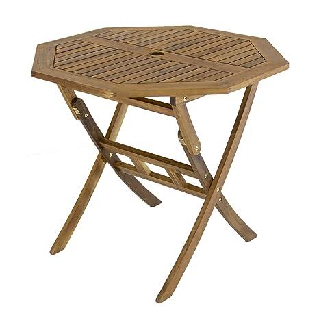 Charles Bentley Octogonal Table avec Central Parasol Trou Certifié Fsc  Acacia Bois - Forme Hexagonal Design Classique