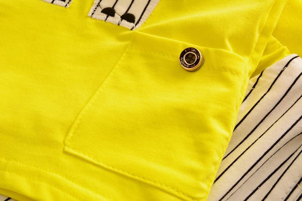 Cute Baby Boys Summer Pajamas Set | Toddler Boys Cartoon Vest Blue Tees Stripe Shorts Sets(Yellow,110) by Wesracia (Image #4)