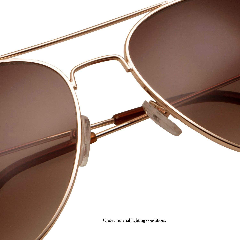 85d3e536d Amazon.com: SWG Eyewear Metal Classic Aviator Sunglasses in Gold/Brown:  Clothing