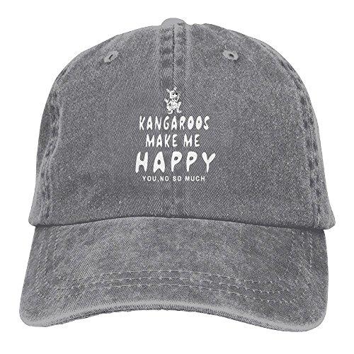 Z-YY Kangaroos Make Me Happy Adults Adjustable Cowboy Cap Denim Hat For Outdoor -