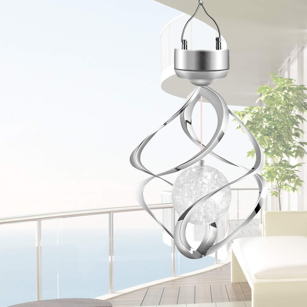 Spiral-Spinner-H/ängelampe f/ür den Gartenterrassenbalkon Outdoor-Innendesign-Dekor wasserdichte Windspiele mit LED-Farbwechsel Haokaini Drehbare Solar-H/ängelampen