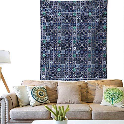 rn tapestryPortuguese Azulejo Moroccan Culture Ceramic Tiles European Arabian OrientalGorgeous Tapestry 60W x 80L INCHPurple Teal Yellow ()