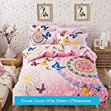 Lt Full Size 100% Cotton pink butterflies Colorful Boho Bohemian Style Jaipur Duvet Cover Sets (Full, 4pcs without comforter-pink)