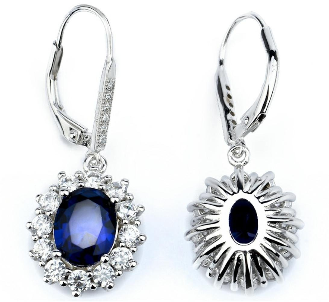 Sapphire & White Topaz Simulated Oval-cut Halo Leverback Dangle Earrings for Women Girls by YFN (Image #4)