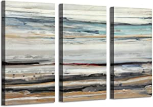"""Seascape Abstract Arts Seashore Picture: Rocky Shoreline Along Hidden Beach at Sunrise Photographic on Wrapped Canvas (34"""" x 20"""" x 3 Panels) for Office Wall Decor"""