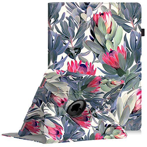 Fintie iPad Pro 12.9 Case - 360 Degree Rotating Stand Case with Smart Protective Cover Auto Sleep/Wake for Apple Pro 12.9 (1st Gen 2015) / iPad Pro 12.9 (2nd Gen 2017), Protea Paradise