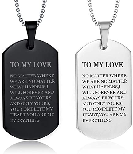 Engraved Customized Stainless Steel Dog Tag Pendant Necklace Couple Love Gift