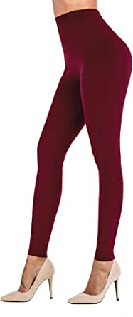 Uaderize Womens High Waisted Ultra Soft Leggings Solid Color Pants Wine XL