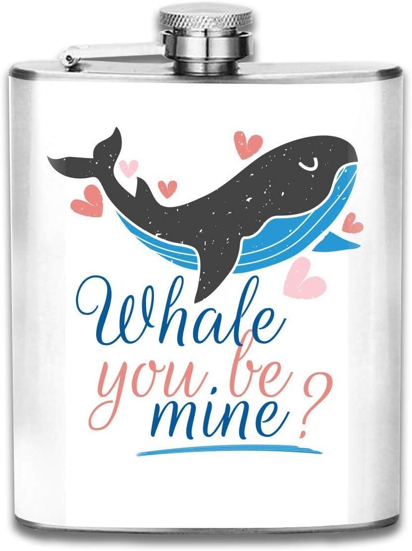 7 oz de acero inoxidable frasco de dibujos animados Whale You Be Mine Fashion portátil de acero inoxidable Hip Flask Whisky Bottle para hombres y mujeres 7 Oz