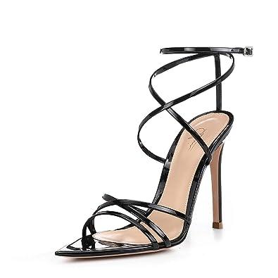 a023a45c2d19 Women Ankle Strap Stilettos High Heels Criss Cross Sandals Open Toe Bridal  Wedding Evening Dress Casual