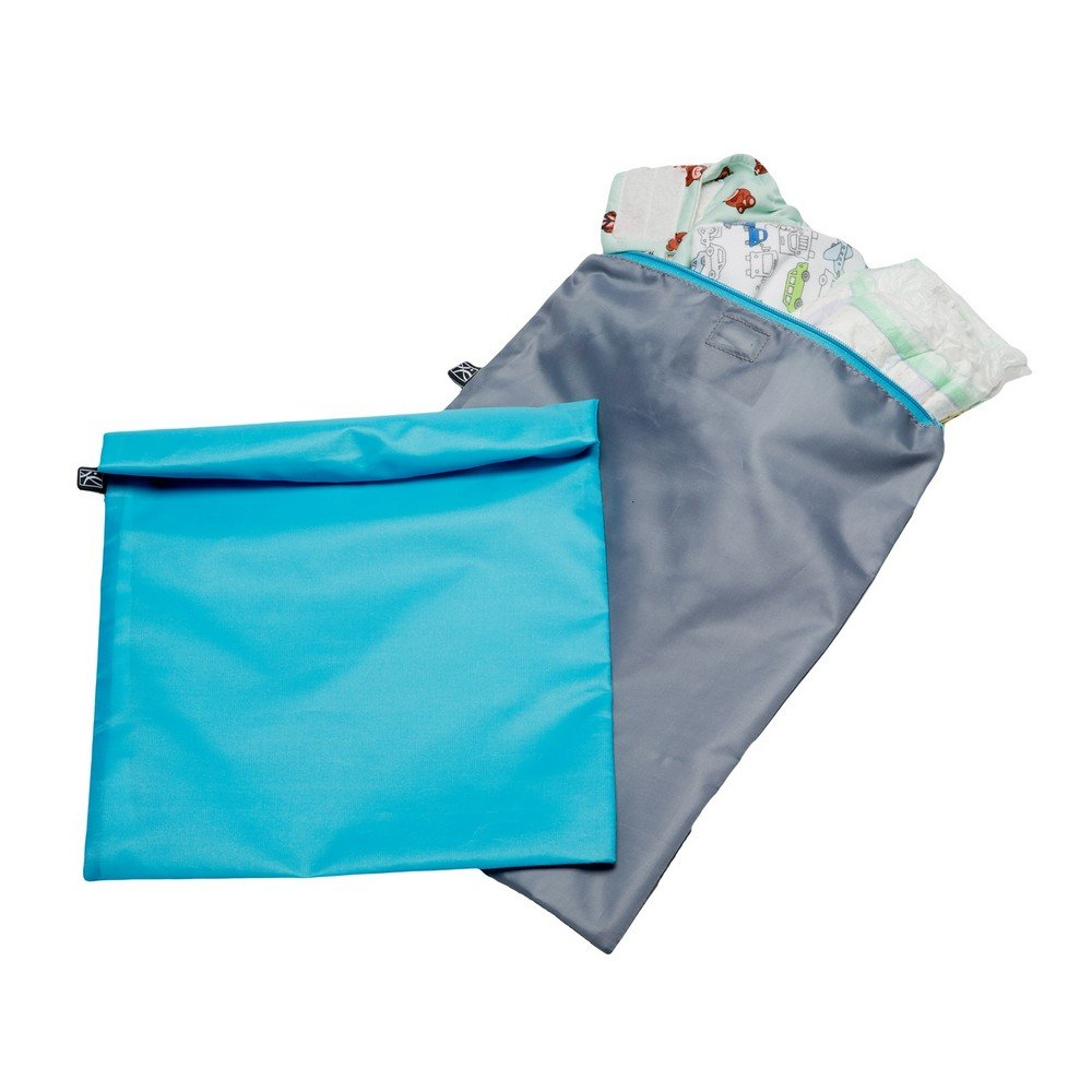 J.L. Childress Wet-to-Go Portable Wet and Dry Bags, Waterproof and Leakproof, Machine-Washable, Reusable for Cloth Diapers, Wet Clothes, Swimsuits, and More. 2 Pack, Teal/Grey by J.L. Childress