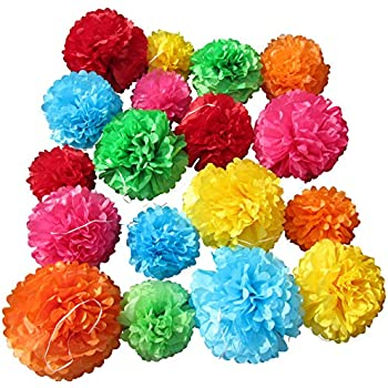 Amazon cinco de mayo decorations fiesta tissue pom paper use4party tissue paper pom poms set of 18 pcs pre folded paper decoration for party wedding birthday bridal baby showers mexican fiesta 10 12 14 inch mightylinksfo